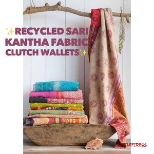 🌿RECYCLED SARI KANTHA FABRIC CLUTCH WALLETS🌿